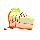 Slice of key lime cake with peanut vector illustration