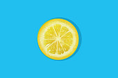 Slice of lemon on a blue background. Citrus fruit illustration