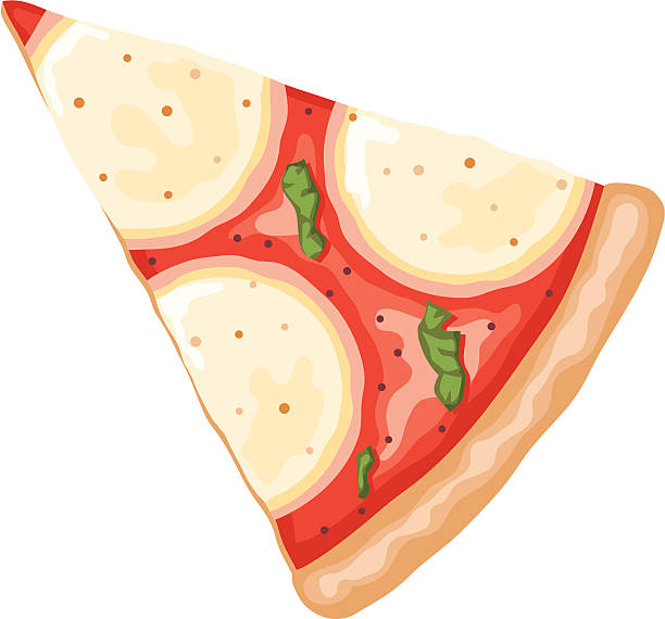 Slice Of Margharita Pizza Vector Art Illustration