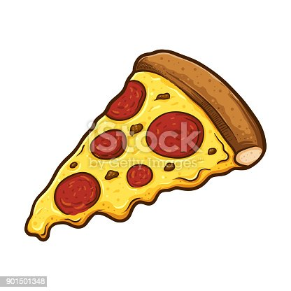 Vector illustration of delicious slice of pepperoni pizza with melted cheese, hand drawn