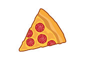 istock Slice of pepperoni pizza icon vector 1266443888