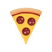 Slice of pepperoni pizza. Vector illustration in cartoon style isolated on white background