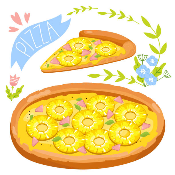 Royalty Free Pineapple Pizza Clip Art, Vector Images ...