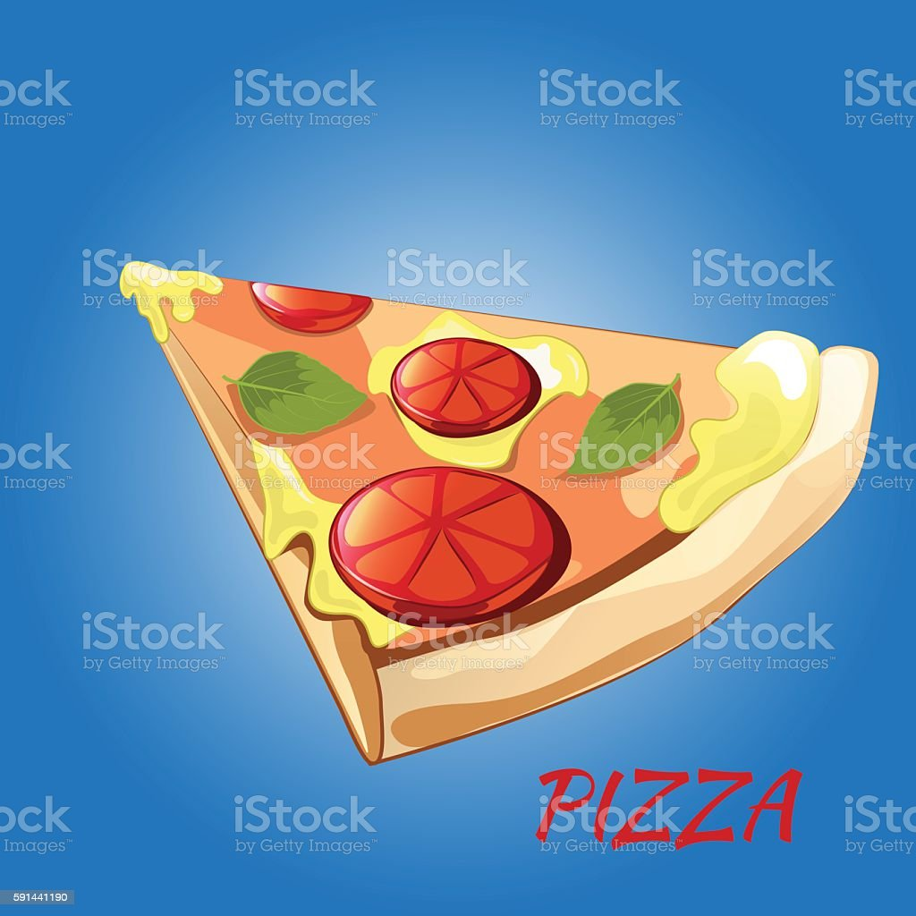 Slice of pizza Margherita vector art illustration