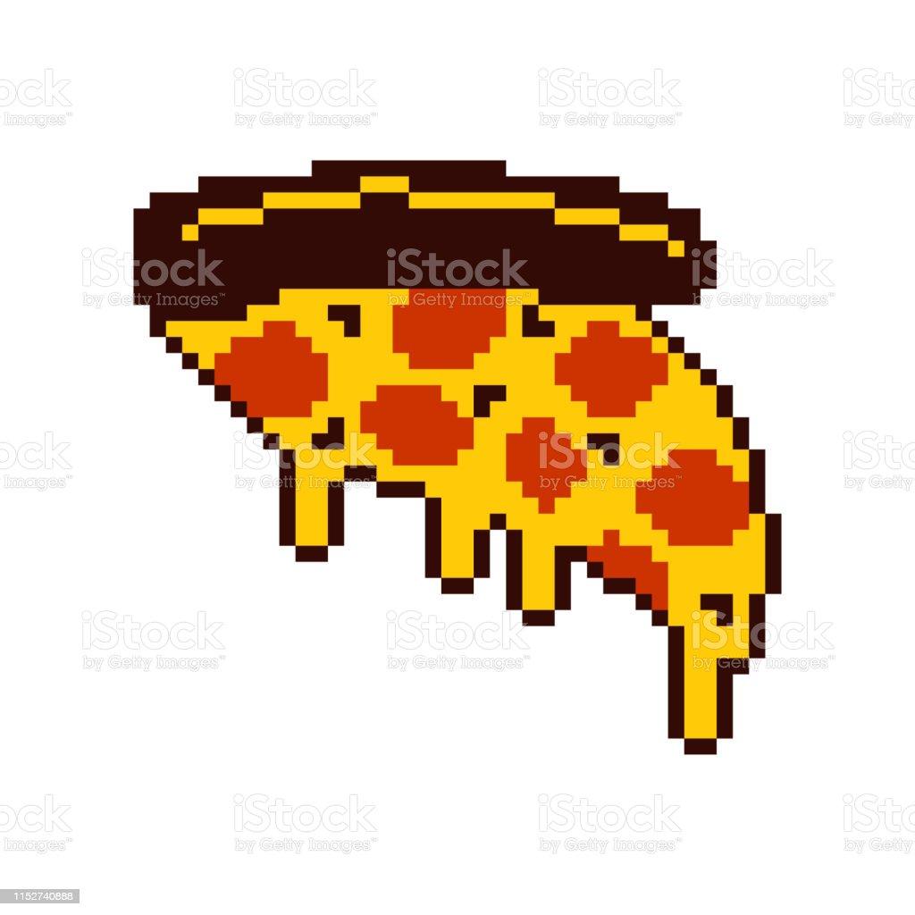Tranche De Pizza Pixel Art Nourriture Rapide De Dessin Animé