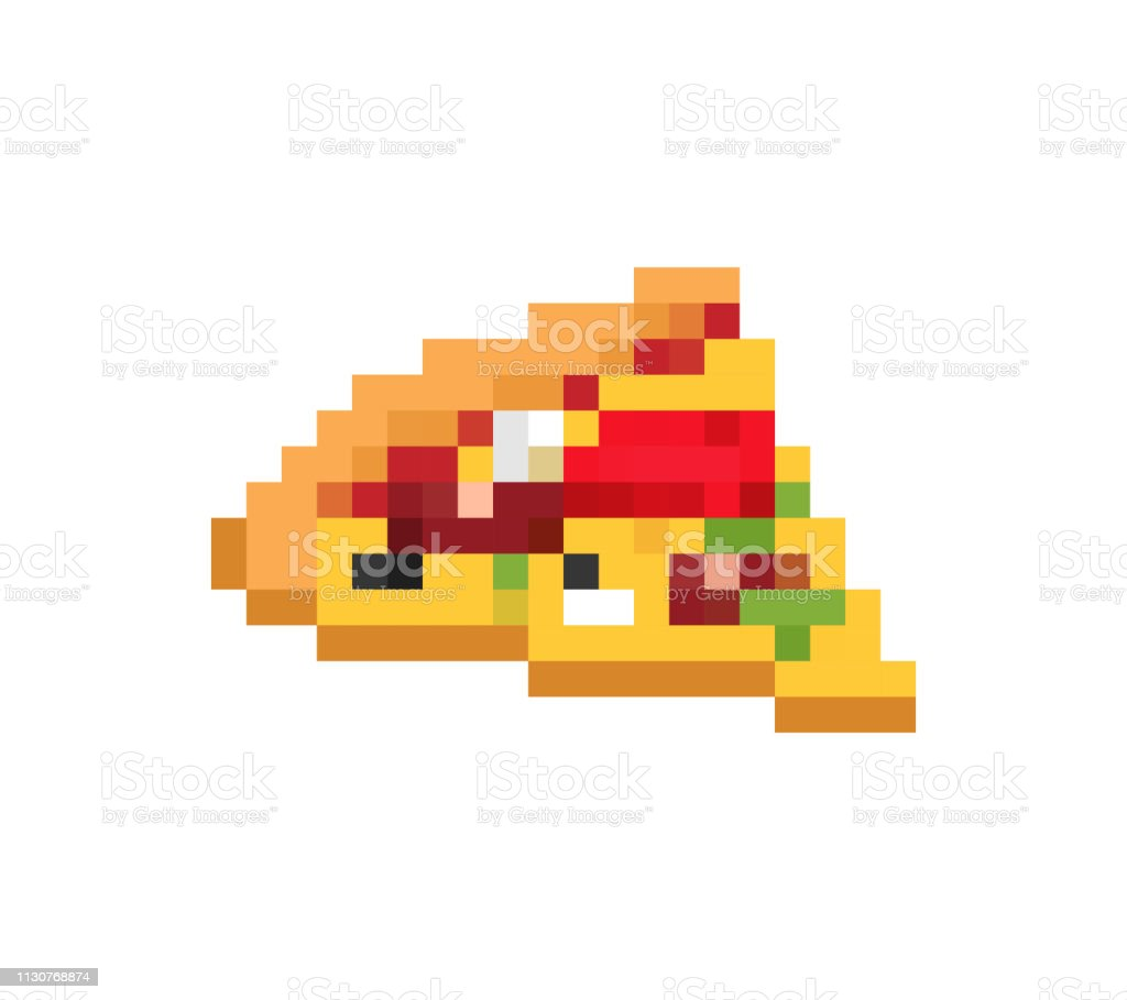 Slice Of Pizza Pixel Art Fast Food 8bit Video Game Old