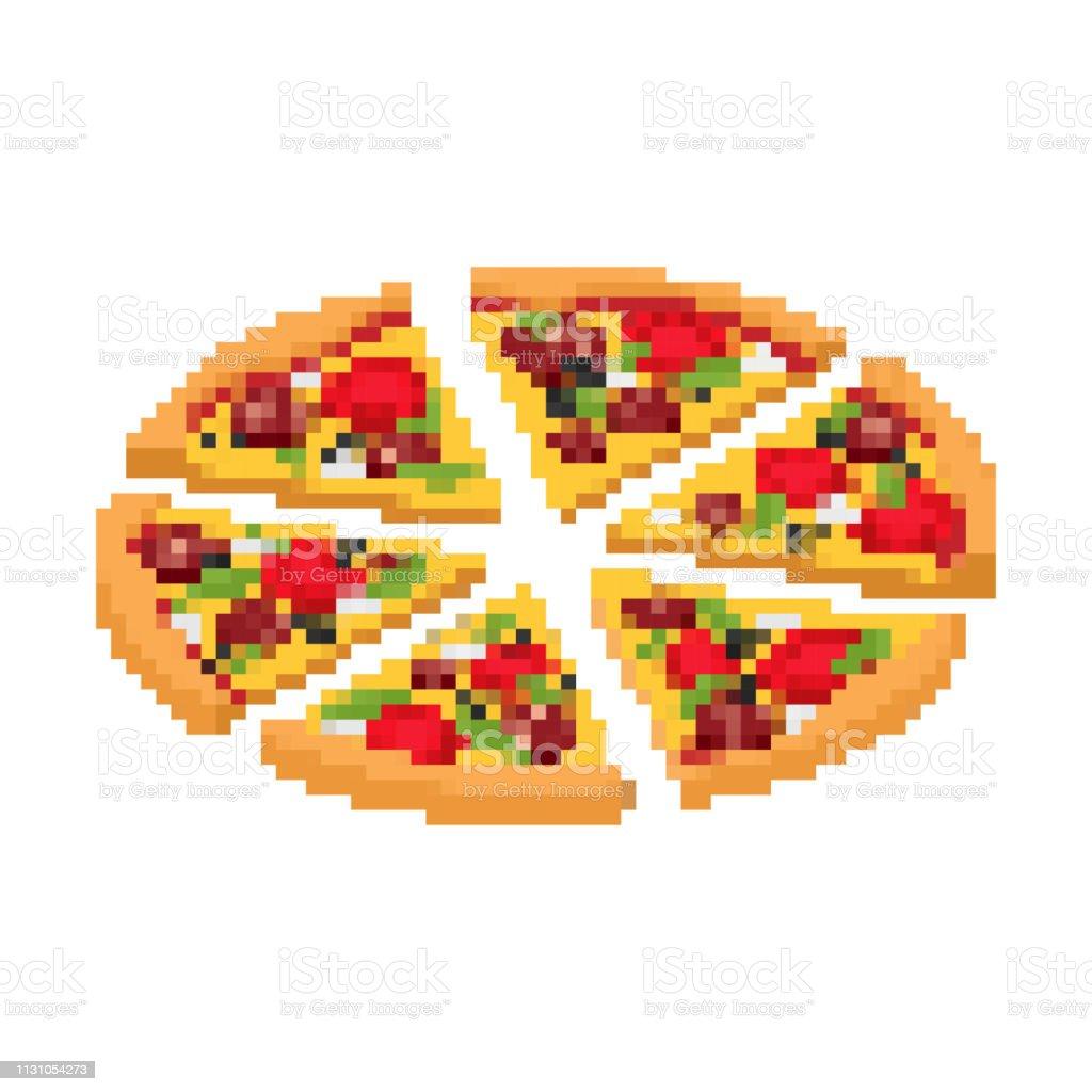 Tranche De Pizza Pixel Art Fastfood 8bit Jeu Vidéo Old