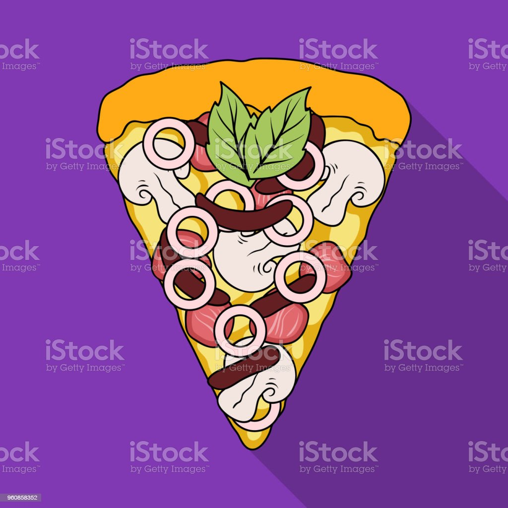 A slice of pizza with different ingredients. Different pizza single...