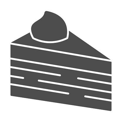 Slice of puff cake solid icon, Birthday cupcake concept, Cake slice sign on white background, puff piece of chocolate dessert icon in glyph style for mobile and web design. Vector graphics.