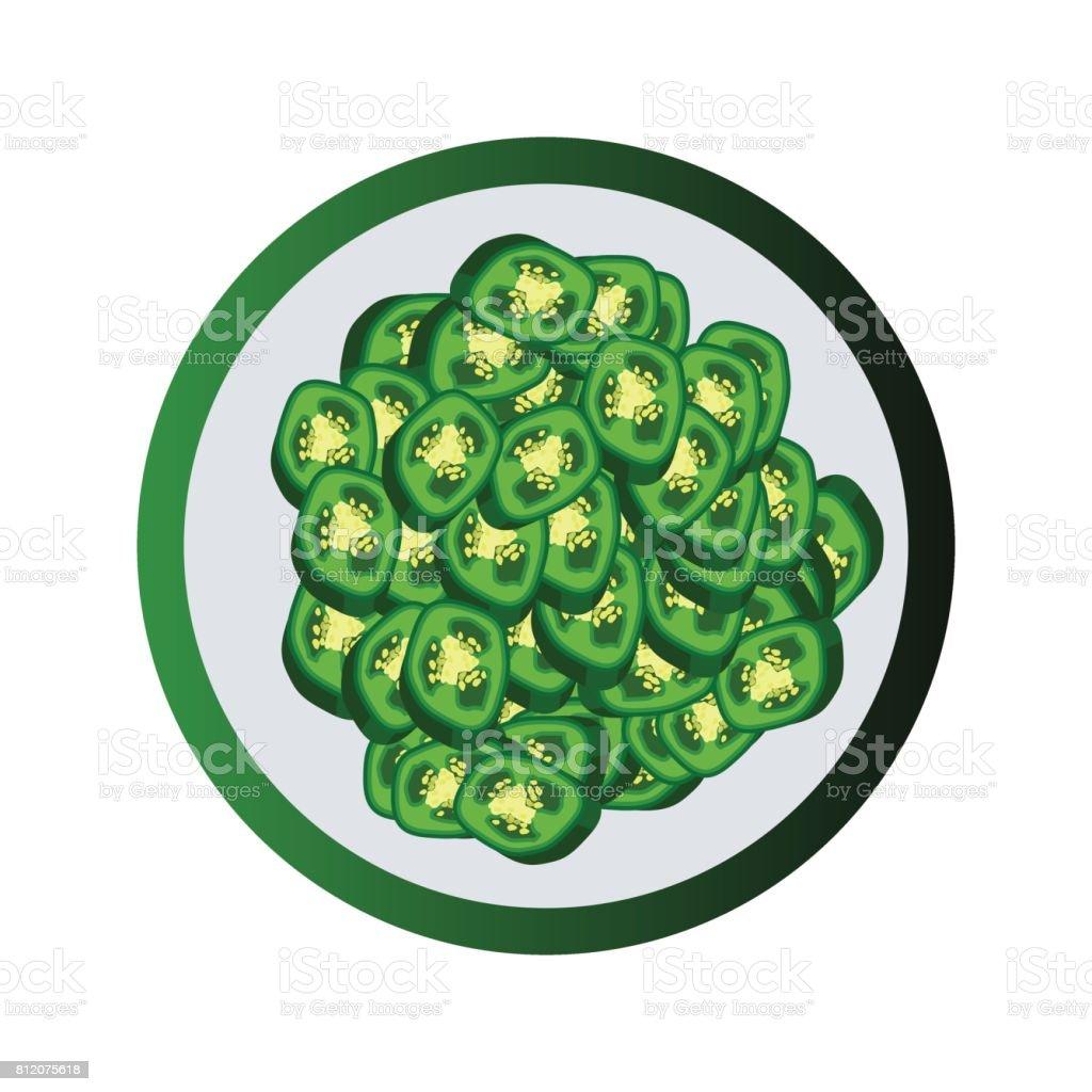 slice of raw jalapenos. vector illustration vector art illustration