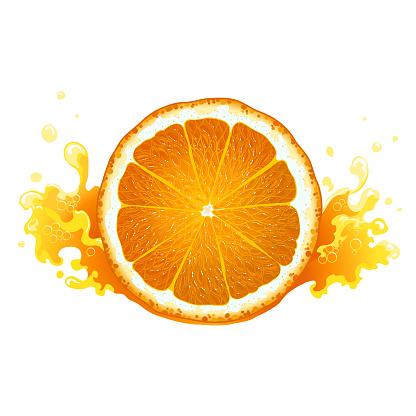 Slice of ripe orange with juice