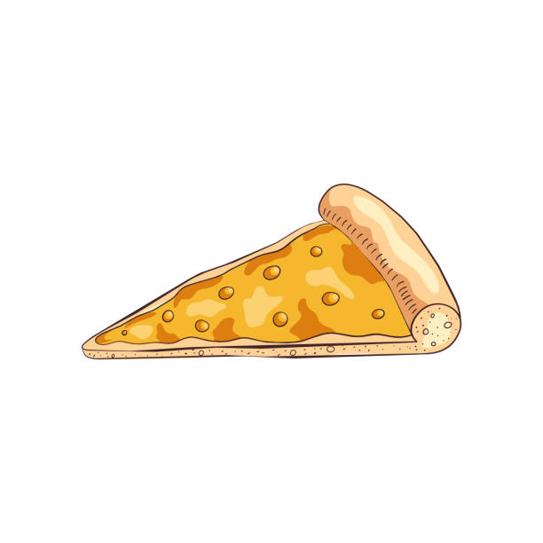 ilustrações de stock, clip art, desenhos animados e ícones de slice of tasty cooked pizza with different four cheeses - sauce tomatoes