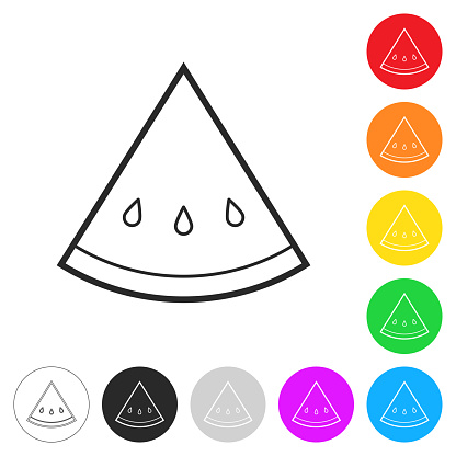 Slice of watermelon. Flat icons on buttons in different colors