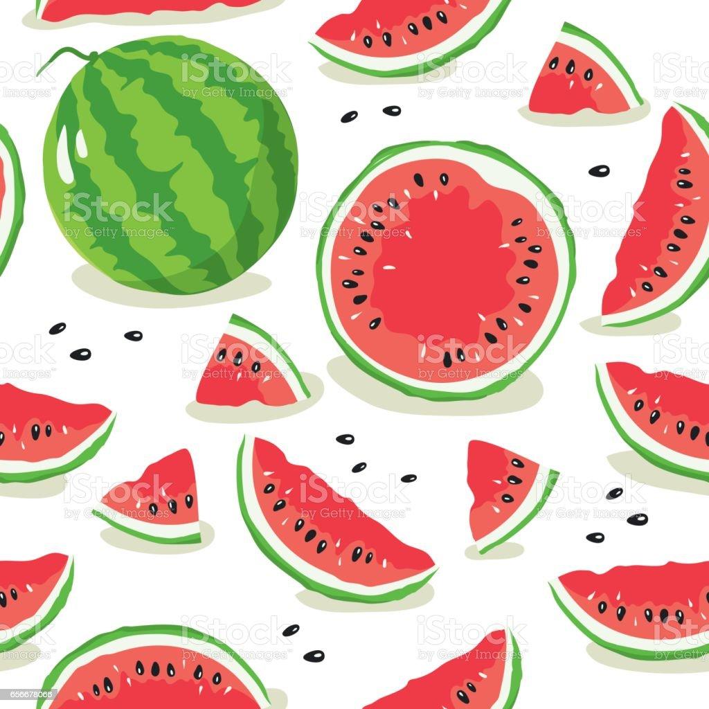Slice of watermelon vector art illustration
