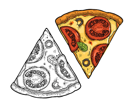 Slice pizza mexican. Vintage vector engraving illustration for poster, menu, box.
