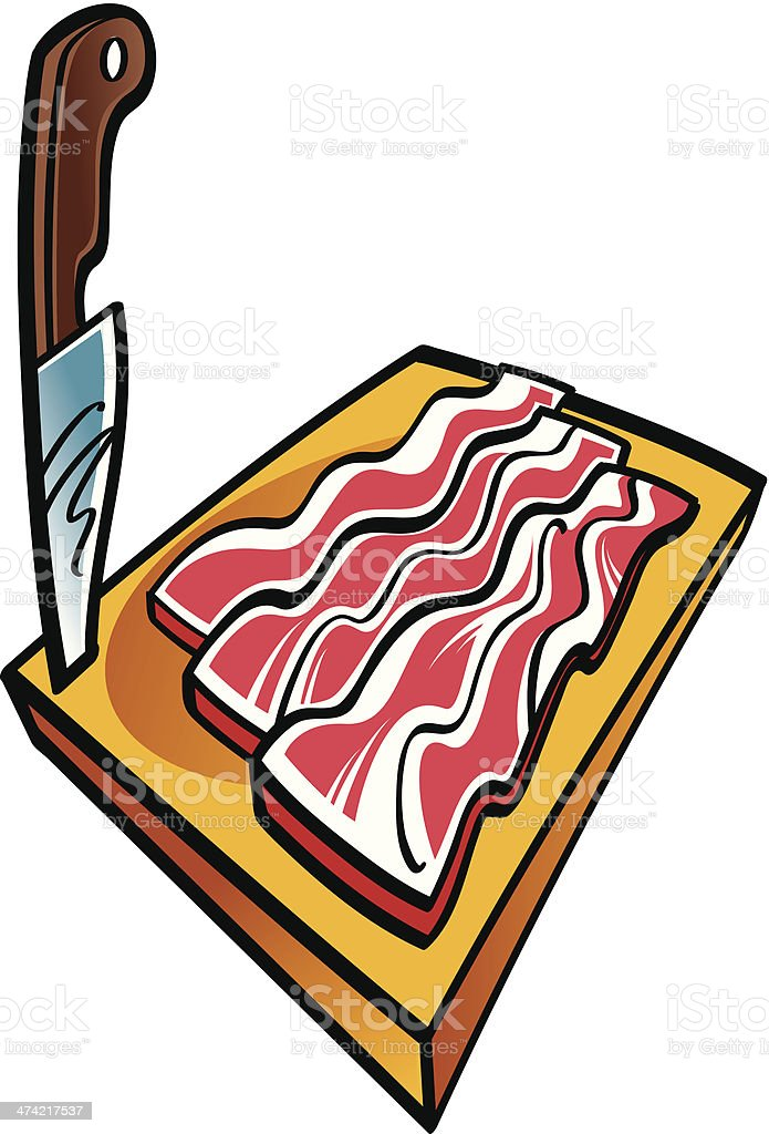 Sliced bacon and knife royalty-free stock vector art