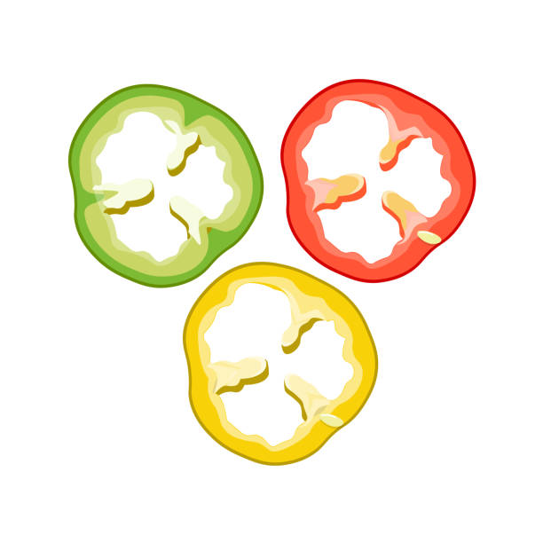 ilustrações de stock, clip art, desenhos animados e ícones de sliced bell pepper red, green and yellow - red bell pepper isolated