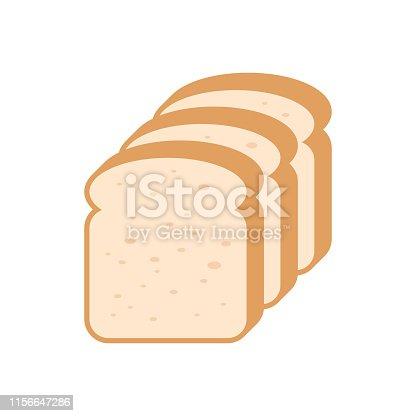 Sliced bread flat vector. Flat style design