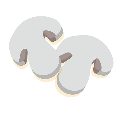 Sliced champignon mushroom. An ingredient for cooking. Vector illustration on a white background