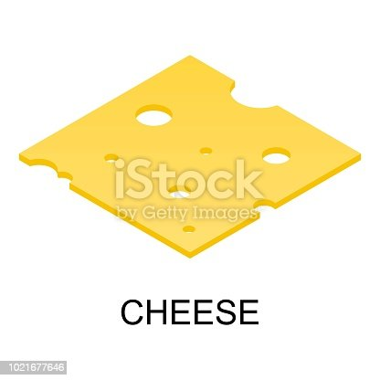 istock Sliced cheese icon, isometric style 1021677646