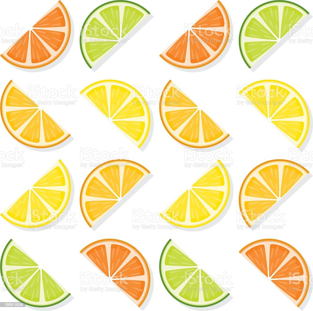 Sliced Citrus Fruit Seamless Pattern vector art illustration