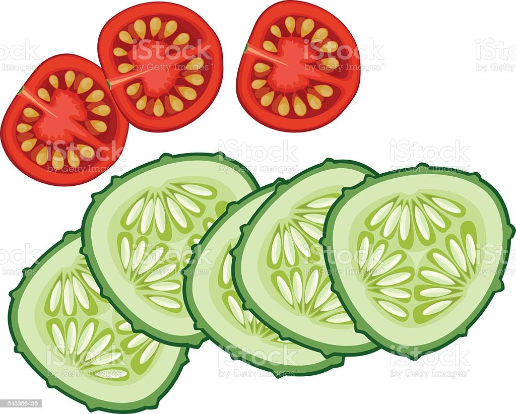 sliced cucumber and tomato vector art illustration