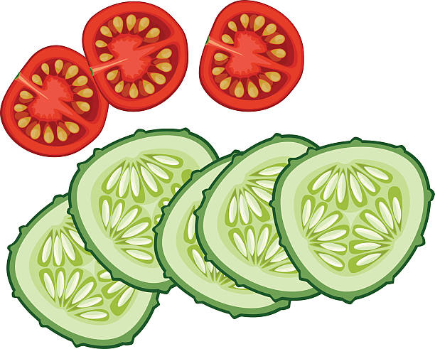 sliced cucumber and tomato sliced cucumber and tomato pickle slice stock illustrations