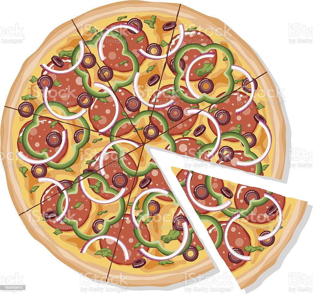 Sliced Deluxe Pizza vector art illustration