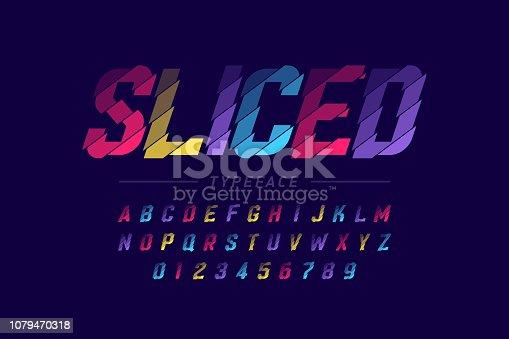 Sliced font design, alphabet letters and numbers vector illustration