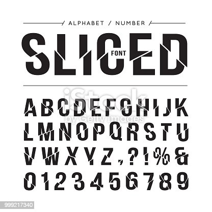 Sliced font or typeface. Alphabet and number in sliced or trim effect. For title, headline, sale, poster, website or brochure design.