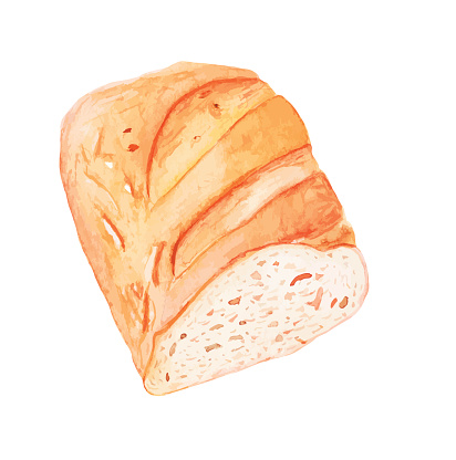 Sliced loaf of white bread - vector watercolor painting
