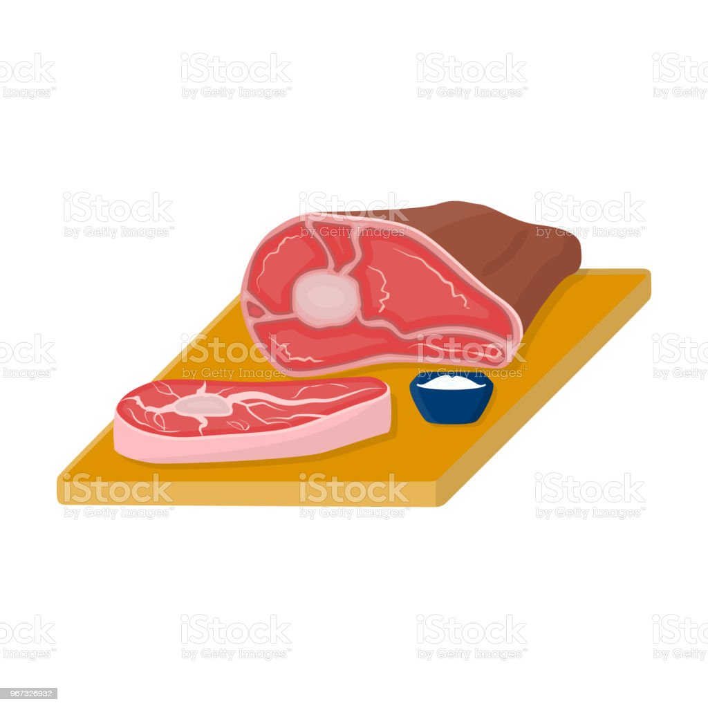 Sliced meat on the cutting board icon in cartoon style isolated on white background. Pub symbol stock vector web illustration. vector art illustration