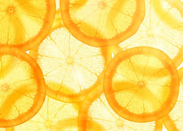 stockillustraties, clipart, cartoons en iconen met gesneden oranje achtergrond - vitamine c