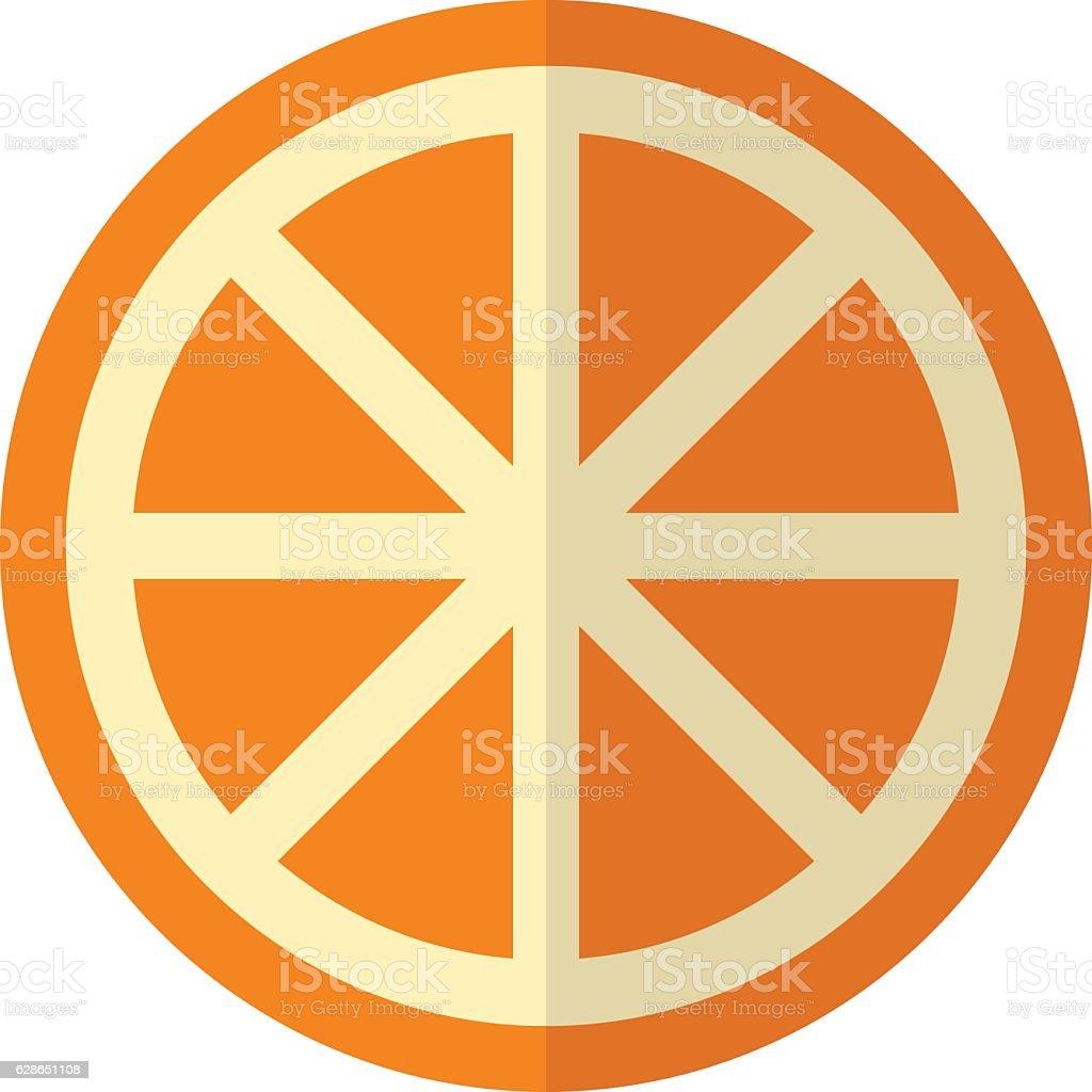 Sliced orange on white vector art illustration