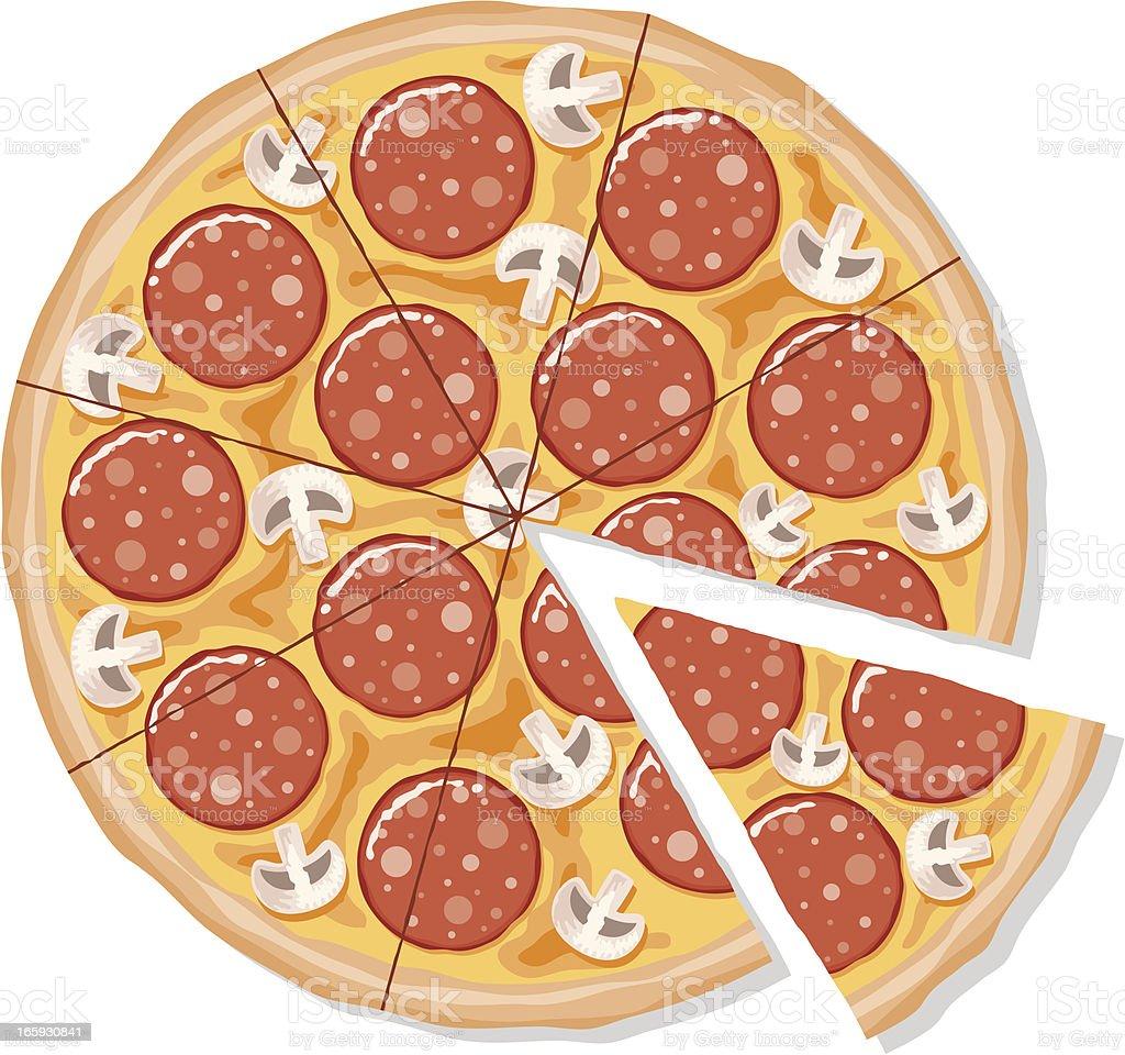 Sliced Pepperoni and Mushroom Pizza vector art illustration