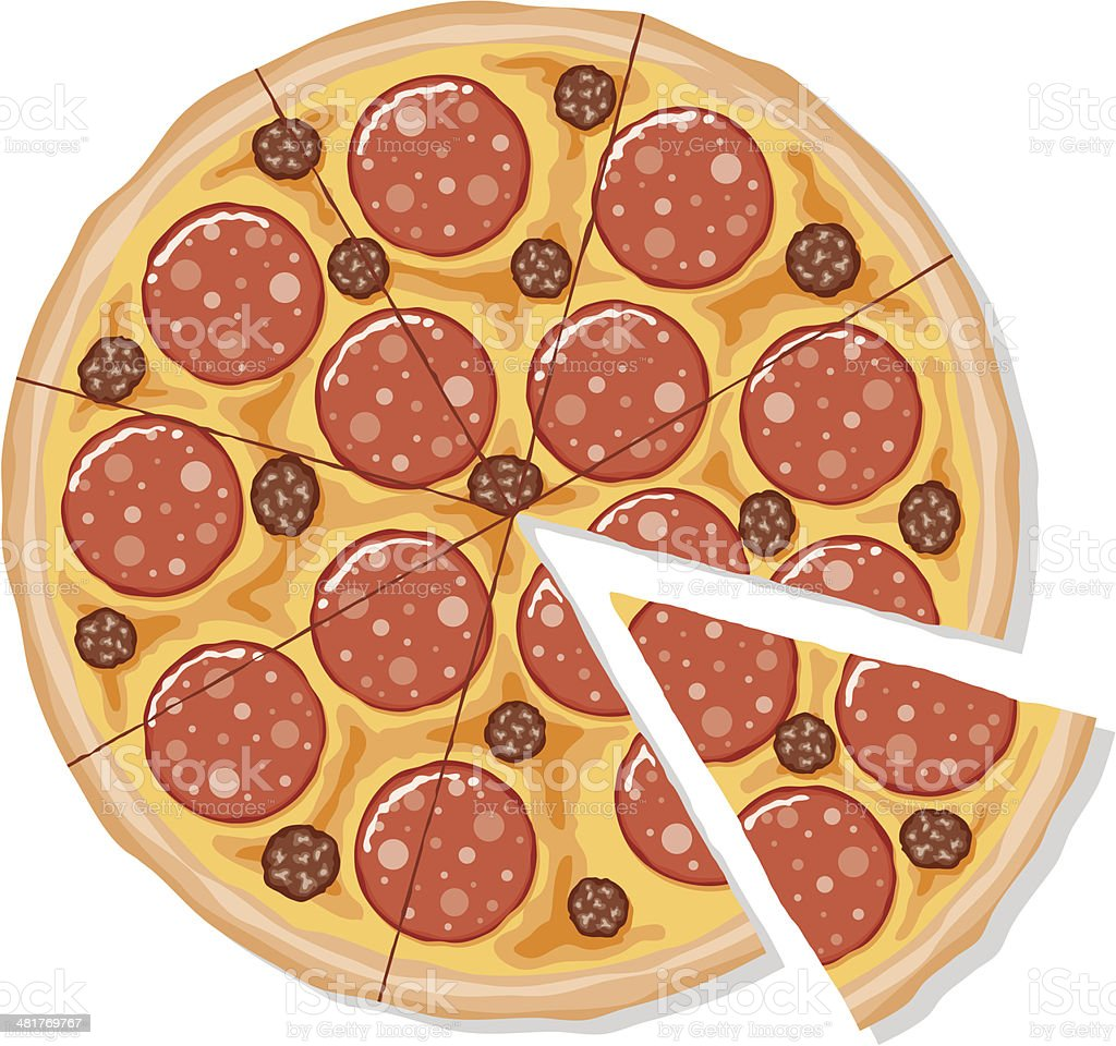 Sliced Pepperoni and Sausage Pizza vector art illustration