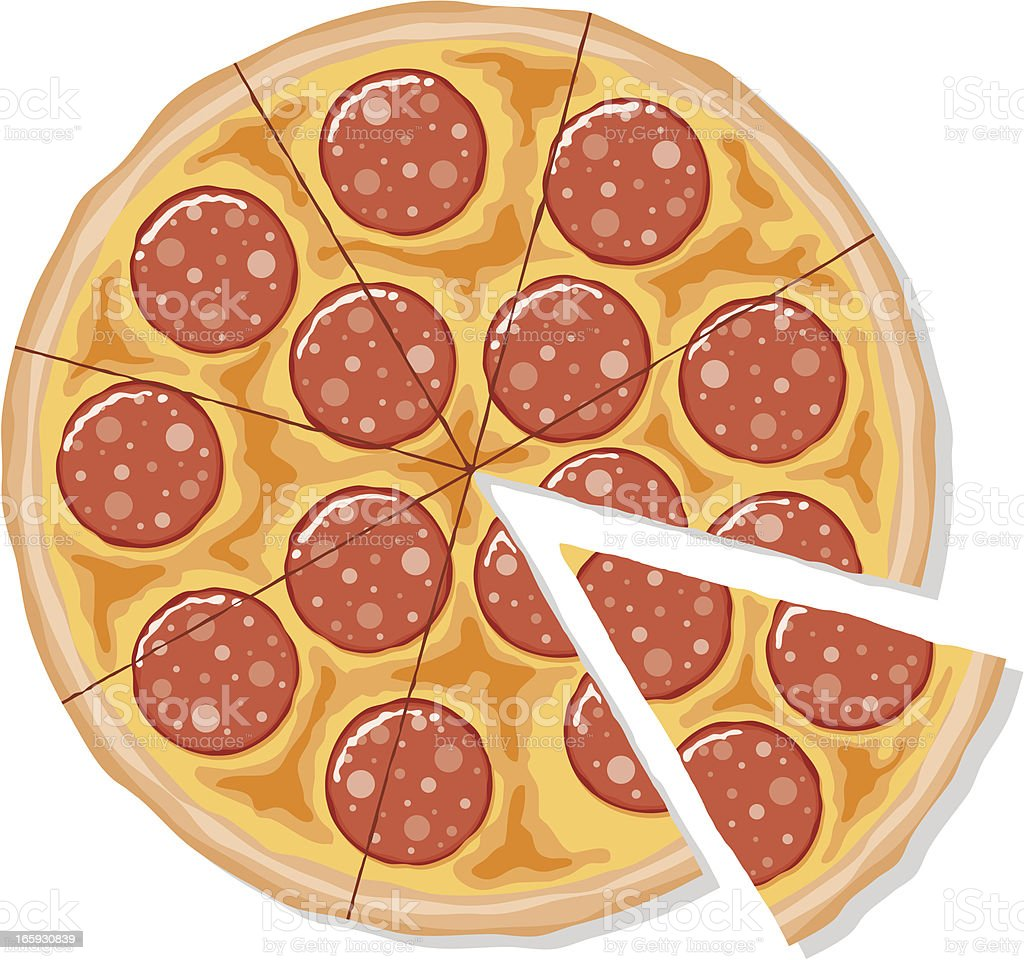 Sliced Pepperoni Pizza vector art illustration