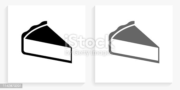 Sliced Pie Black and White Square Icon. This 100% royalty free vector illustration is featuring the square button with a drop shadow and the main icon is depicted in black and in grey for a roll-over effect.