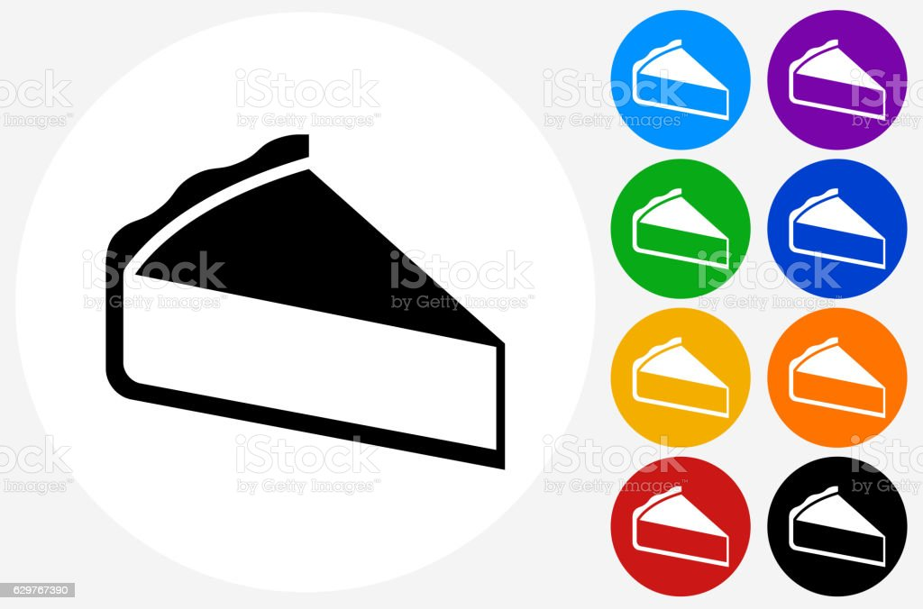 Sliced Pie Icon on Flat Color Circle Buttons vector art illustration