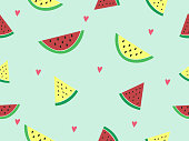 Sliced piece of red and yellow watermelon on pastel blue background decorated with pink heart. Sweet and delicious tropical fruit for summer refreshing. Vector design seamless pattern for wallpaper.