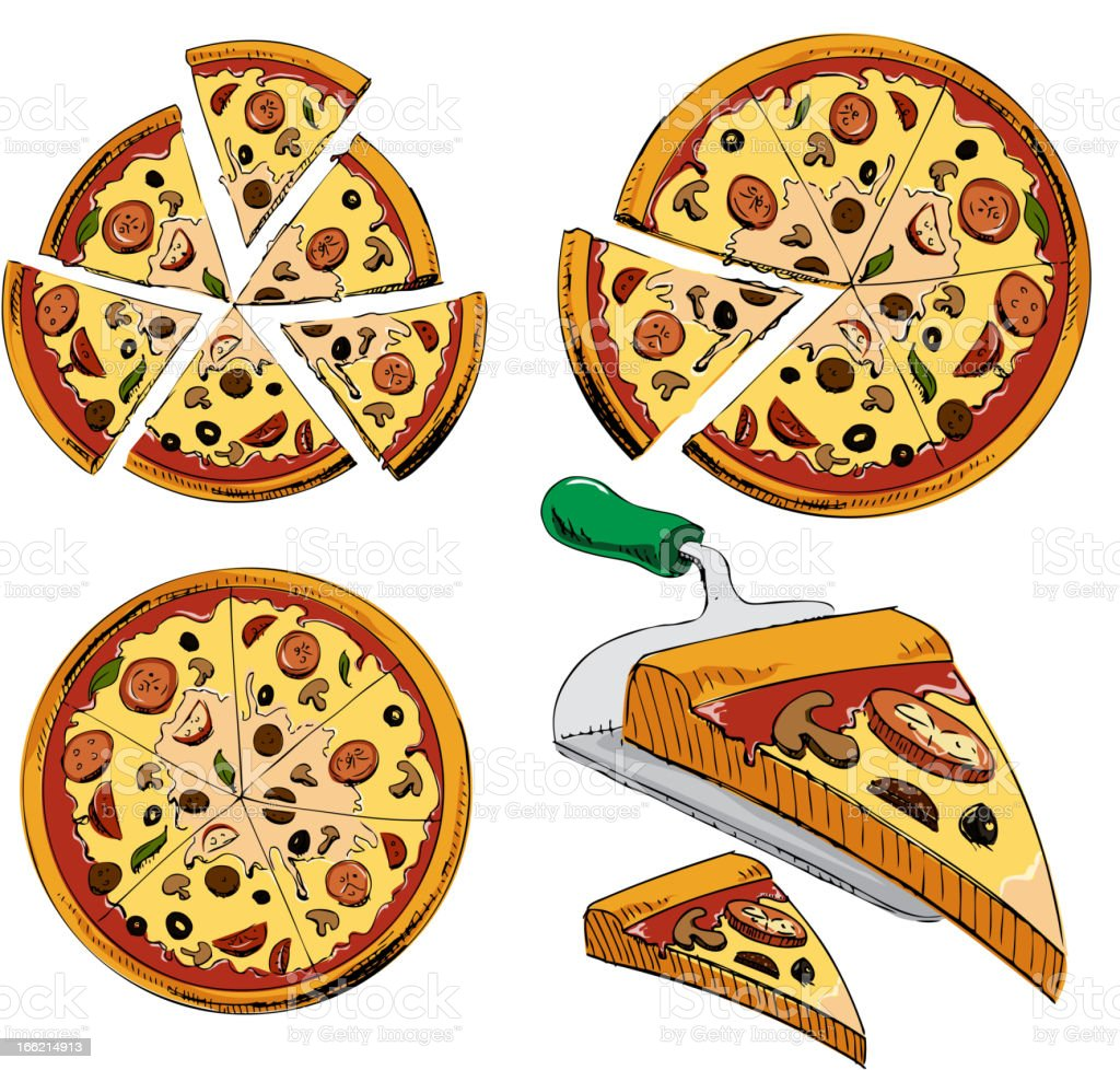Sliced pizza colorful collection royalty-free stock vector art