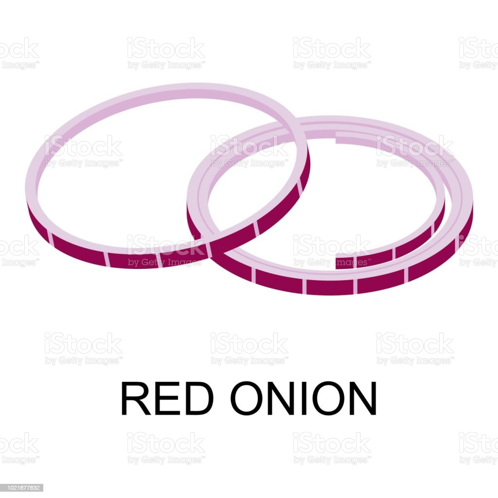Sliced Red Onion Icon Isometric Style Stock Illustration ...