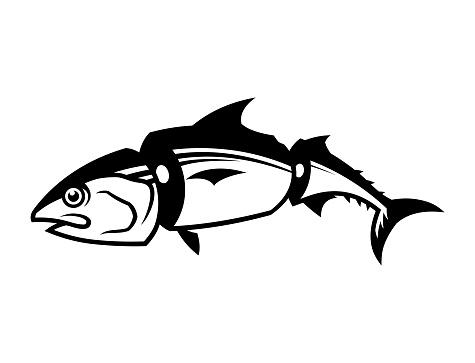 Sliced tuna fish silhouette
