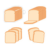 Sliced white sandwich bread illustration set. Toast slices and loaf in bag. Simple modern flat vector style.