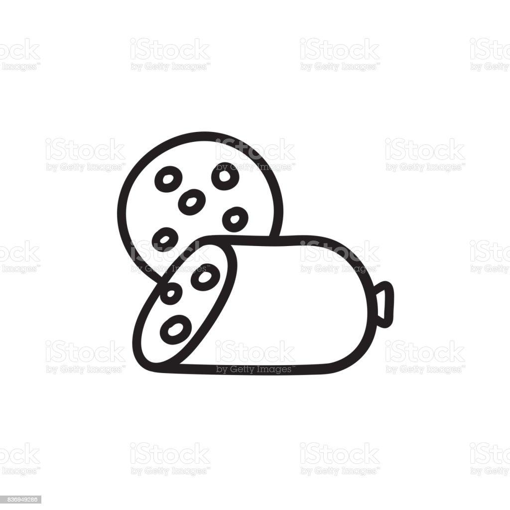Sliced wurst sketch icon vector art illustration