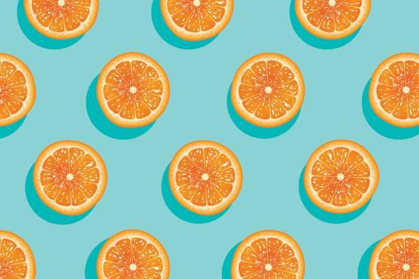 ilustrações de stock, clip art, desenhos animados e ícones de slices of fresh orange summer background. - orange
