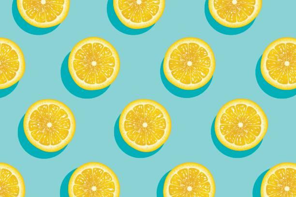 Scheiben von frischem gelben Zitronen Sommer Hintergrund. – Vektorgrafik