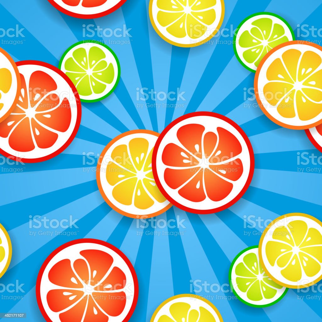 Slices of funny fresh citrus fruits on blue beams background royalty-free slices of funny fresh citrus fruits on blue beams background stock vector art & more images of backdrop