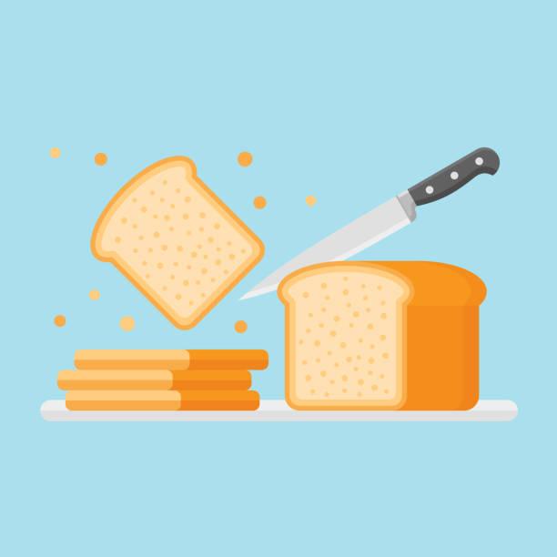 slicing toastbrot mit messer. flachen stil-vektor-illustration. - brot stock-grafiken, -clipart, -cartoons und -symbole