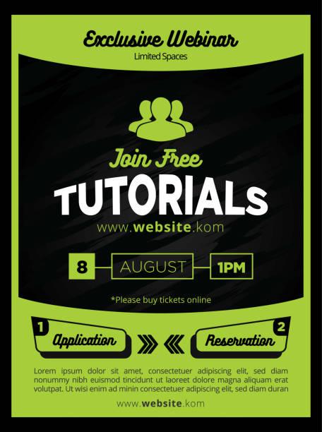Slick and Modern Green Tutorials Flyer or Poster Template for Education vector art illustration